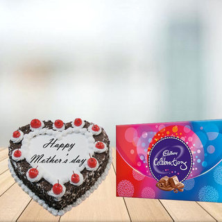 Mothers Day Heart Shape Black Forest cake with Celebration Combo