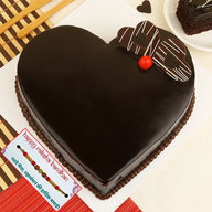 Heart Shape Truffle Cake with Rakhi