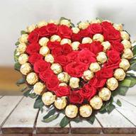 Roses with Ferrero Rocher Heart