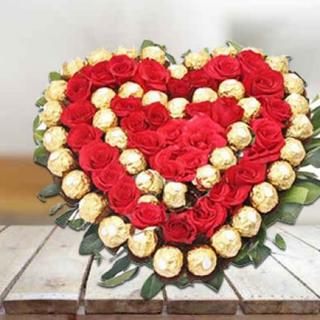 Valentine Premium Roses with Ferrero Rocher Heart