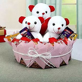 Valentine Teddy and Chocolate Basket