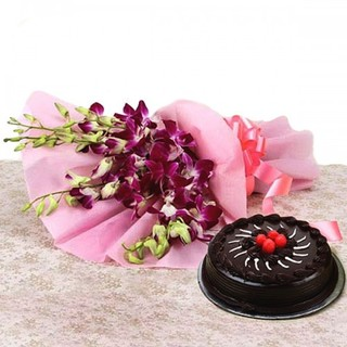 Premium Chocolate Truffle Cake From 5 Star With Lovely orchids