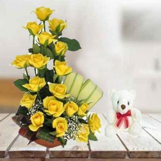 Teddy With Yellow Roses