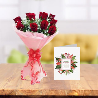 Christmas Flowers and Greeting Card