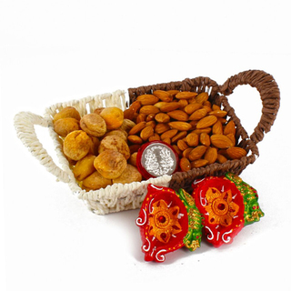 Dry Fruit Tray with Diyas and Coin