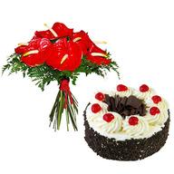 Anthurium Bouquet & Cake