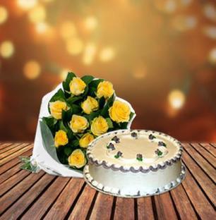 Vanilla Cake & Yellow Roses