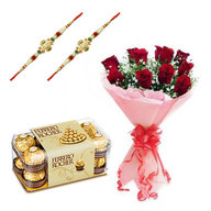 Choco Rakhi with Red Roses