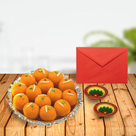 Diwali Laddoos With Diyas & Card