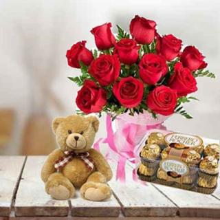 Red Roses with Chocolate & Teddy