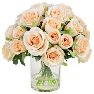 Peach Roses Vase Large