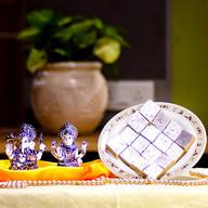 Laxmi Ganesha Silver Idol with Kaju Katli