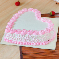 Fresh Heart Shape Strawberry Cake