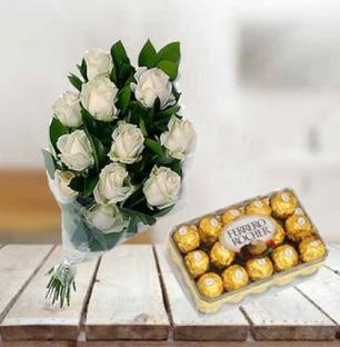 White Roses with Chocolate