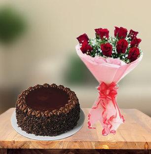 Choco Chip Cake & Red Roses