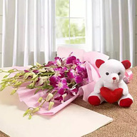 Valentine Love with Orchids and Teddy