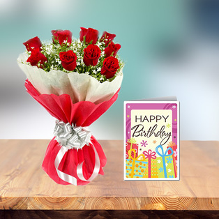 Exclusive Birthday Flowers and Card