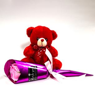 Red Teddy with Beautifully wrapped rose