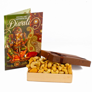 Diwali Greeting Card with Cashew Gift Box