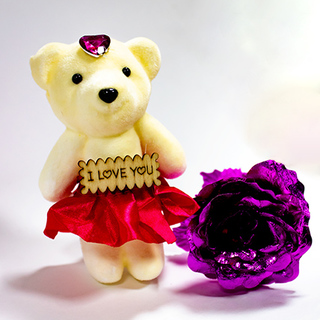 I Love You teddy with a Purple Rose