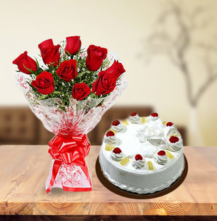 Valentine Roses and Pineapple Cake