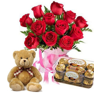 Valentine Chocolates, Teddy & Roses