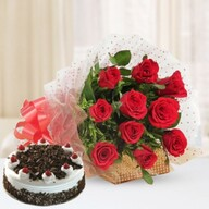 Blackforest Cake & Red Roses