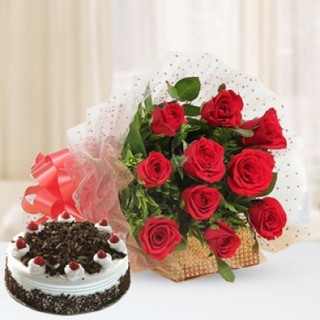 Premium Black Forest Cake From 5 Star With Lovely Red Roses