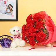 Beautiful carnation, teddy and chocolate Combo