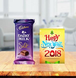 Dairy Milk Silk Chocolates with New Year Greeting Card