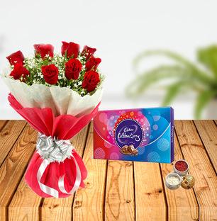 Dussehra Flower and Celebration Tikka Combo