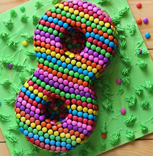 Number Cake with Gems