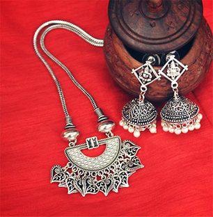 German Silver String Necklace Set
