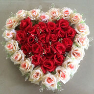 Red and Pink Roses Heart Arrangement