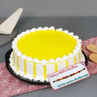 Fresh Butterscotch Cake With Rakhi