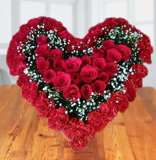 Heart In Heart Red Flowers Bouquet