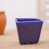 Square Cone Ceramic Pot (Navy Blue)