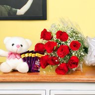 Beautiful red roses, teddy and chocolate Combo
