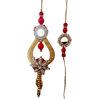 Fancy Mirrorwork Rakhi Loomba Set