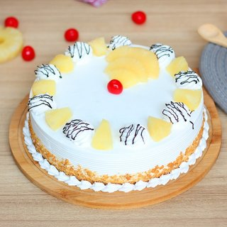 Pineapple Cream Cake with Cherries
