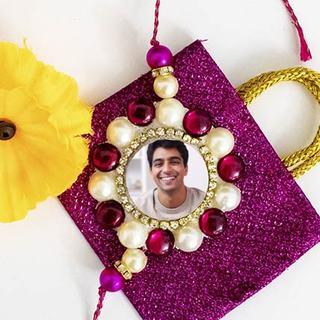 Floral Beads Photo Rakhi