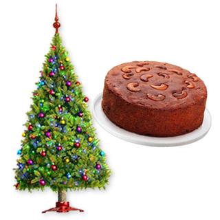 Christmas Tree & Plum Cake
