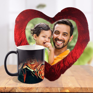 Fathers day Heart Cushion and Magic Mug