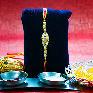 Double Moti with Beads String Rakhi
