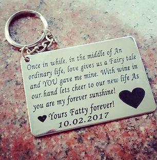 Metallic Love Message Keychain