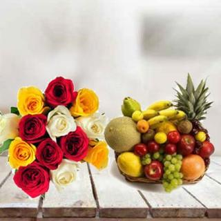 Fresh Fruit Basket With Roses
