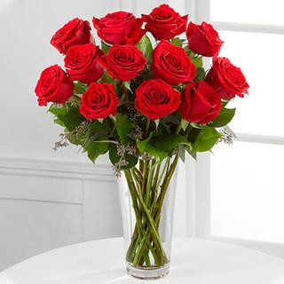 Valentine Red Roses Vase