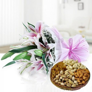 Lilies with Dry Fruits