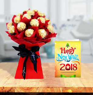 Ferrero Rocher Bouquet with New Year Greeting Card