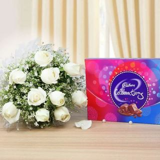 White Roses with Cadbury Celebration Chocolate Combo
